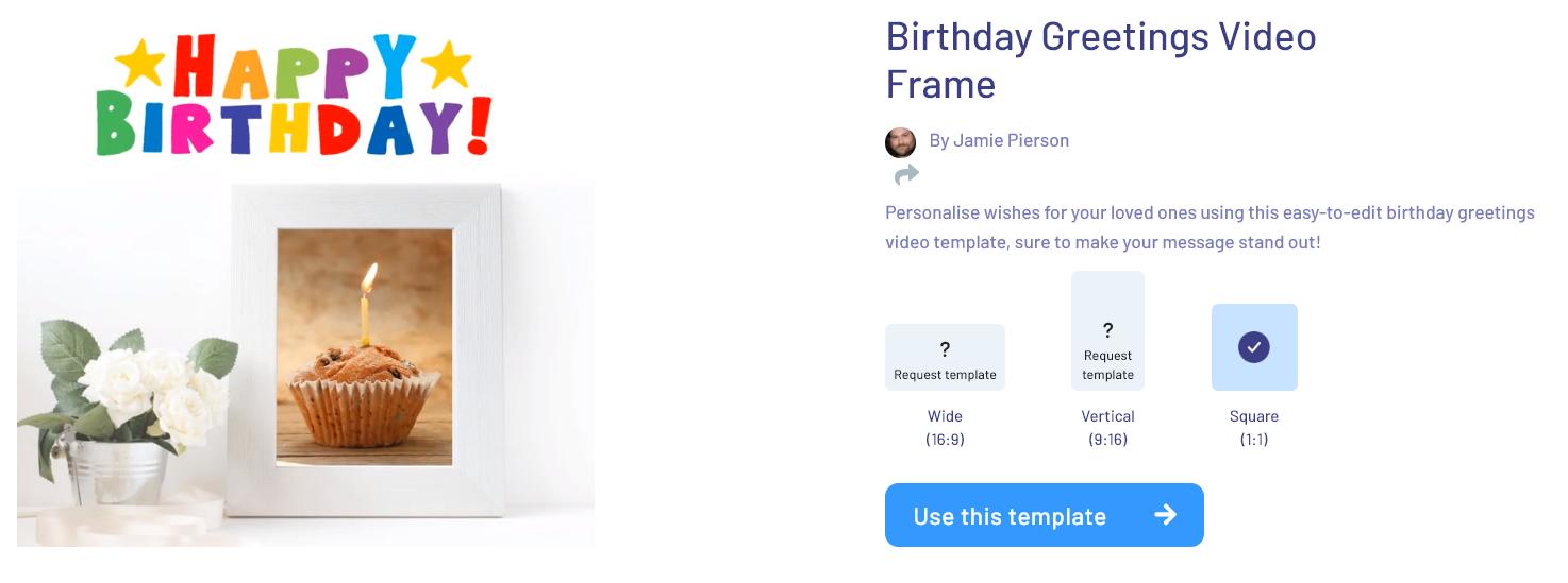 Birthday Greetings Video Frame